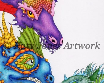 Dragon colouring page or digi stamp - adult coloring or fun kids activity - instant digital download for coloring or scrapbooking, printable