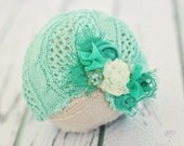 newborn baby hat // photo prop // baby girl photography // chic baby hat  // turban hat // vintage // mint // St. Patricks Day // RTS