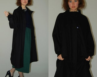 Wool Cocoon Coat Vintage 60s Black Wool Draped Oversized Winter Cocoon Cape Coat (one size)