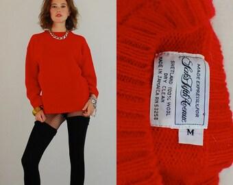 Wool Sweater Vintage Red SAKS FIFTH AVENUE Indie Preppy Shetland Wool Pull Over Sweater (m)
