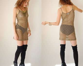 Bandage Mini Dress Vintage 80s 90s See Through Netted Metallic Body Con Bandage Mini Dress (s m)