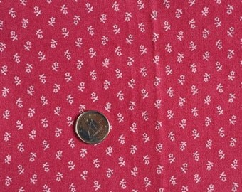 PK056 ~ Pink fabric White flowers Tiny print Raspberry color Quilting Color
