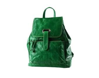 SALE - Green Leather Backpack, Large, Women Backpack, Rucksack, artoncrafts