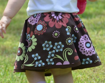 Reversible Circle Skirt/Toddler Girls/Brown Floral/Pastel Stripe/Birthday Outfit/Dancing and Twirling Full Skirt/Cotton Print Play Skirt