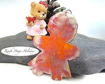 Gingerbread Lady Copper Xmas Tree Decoration, Christmas Ornament, Metal Holiday Decor, Gift for Woman, Girl Door Hanger, Keepsake Ornament