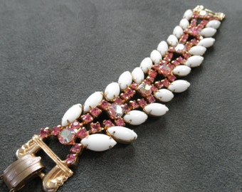 Superb Vintage Bracelet with Pink Aurora Borealis Rhinestones and Milky White Glass Navettes, Juliana?