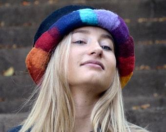 Felt Hat Felted Hat Cloche hat Felted wool hats Womens winter hats Felt hat for women unique felt hat Felt hats Art Hat Rainbow Hat