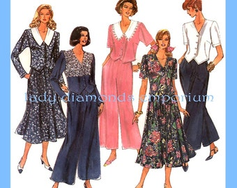 Simplicity 8480 Womens Wide-Leg Pants Flared Skirt Top Split Skirt Culottes size 10 12 14 16 Bust 32.5 34 36 38 Vintage Sewing Pattern Uncut