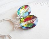 Swarovski Crystal Earrings - Rainbow Oval Silver Earrings