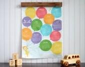 Balloon Nursery Art, 2016 Wall Calendar, Colorful Children's Art, Bright Nursery Decor, Kids Wall Hanging, Unique Baby Gift, New Mom Gift,