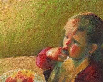 At lunch time- child original oil pastel drawing - portrait drawing - art drawing