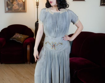 Vintage 1920s Dress - Dove Grey Silk Early 190s Gown with Embroidered Waist and Pleated Apron and Cape Details