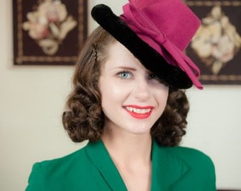 Vintage 1930s Hat - Bold Raspberry Tilt Topper with Peaked Crown and Sheared Fur Trim
