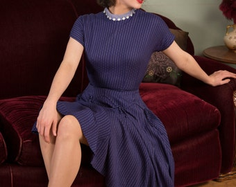 Vintage 1950s Dress - Chic Royal Blue Pinstriped New Look 50s Day Dress with Full Sweeping Skirt and Scalloped Piping