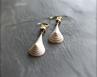 SALE - White-Wash Patina Drop Earrings - Stepped Teardrop, Textured Gold Brass, Handmade Boho Jewellery