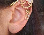 Steampunk Brass Elf ear earcuff pair w/  gemstones