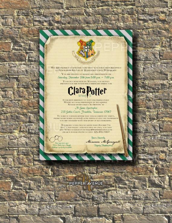 Harry Potter Slytherin Invitation Harry Ron Hermione