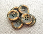 Brown Coat Buttons 27mm - 1 1/6 inch Marbled Golden Bronze Sepia Brown Rust Orange - 7 Vintage Satin Matte Luminescent Plastic Buttons PL469