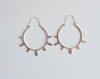 Azur Ray Hoops - Cast Bronze, Sterling Silver Sun Ray Earrings