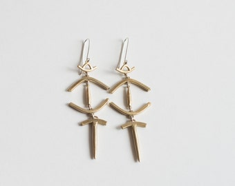 Simka Earrings - Primitive, Tribal, Ancient Shape Spike Drops