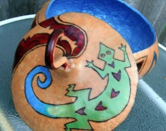 Southwestern Painted Gourd Bowl