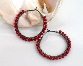 Dark Red Hoop Earrings, Red Coral Beaded Hoops, Oxidized Sterling Beaded Hoops, Fashion Forward, Color Pop, Cross Seasons, Red and Gray