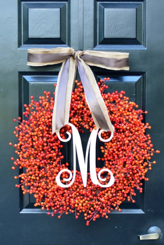Orange Berry Wreath- Double Bow- Monogram Wreaths- Weatherproof Berries- Halloween Decoration- Autumn Decor- Fall Wreath- Orange Berries