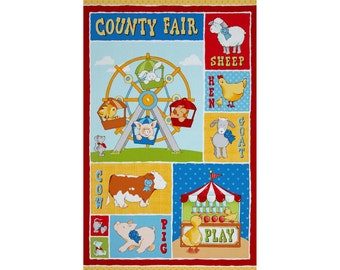 Cuteville County Fair Cotton Panel by Cathy Heck for Henry Glass and Company 24 x 44 inches.