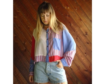 Silk Candy Striped Crop Top Blouse - Vintage 90s - L/XL