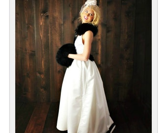 The White Russian Wedding Gown ~ Backless design dress with detachable train ~ deep plunging V-neck ~ pockets and free petticoat