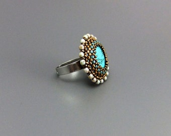 Turquoise Gemstone Beaded Statement Ring Handmade Adjustable Silver Plated Base
