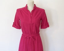Vintage 1970s Disco / Fuchsia Ribbed Dress / Matching Tie Belt