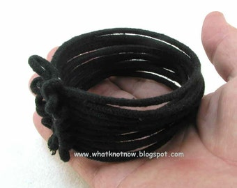 multi strand black bracelet soft fiber jewelry soft bangle bracelet black cord bangle  2862