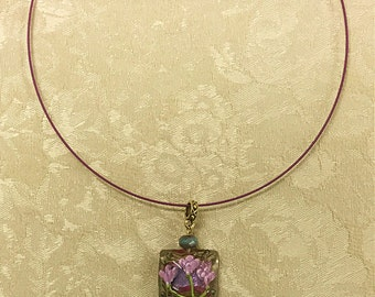 Choker Necklace w/ Lampwork Bead Pendant #2
