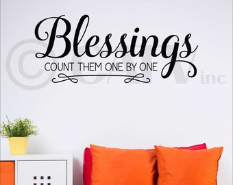Blessings Count Them One By One vinyl lettering wall sayings home decor art decal sticker quote