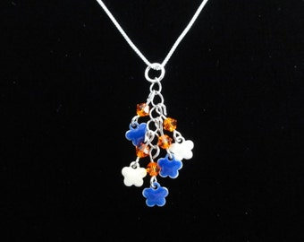 Orange & Blue Enamel Flower Charm Pendant, Florida Gators Necklace, Sterling Silver Necklace