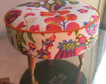 "Beautiful Bespoke Footstool In Svenskt Tenn /Josef Frank ""Brazil"""