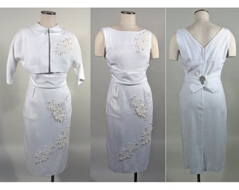 1950s Vintage White Party Dress and Bolero Set with Lace and Rhinestones SZ S