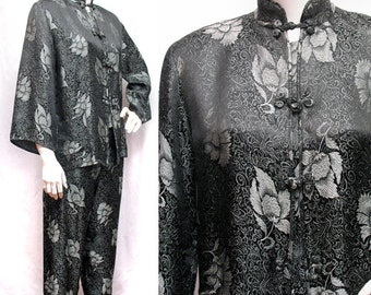 1950s Vintage Black and Silver Chinese Style Pajamas SZ M