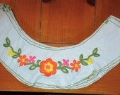 vintage yokes brushed nylon embroidered 18 pieces upcylcle light blue with orange, yellow, pink flowers