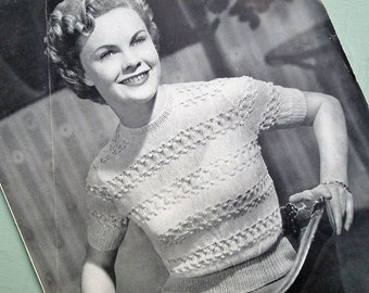 Vintage 1940s 1950s Knitting Pattern Women's Sweater Jumper Lacy Summer Design Short Sleeves - 40s 50s original pattern Wendywear No. 521 UK