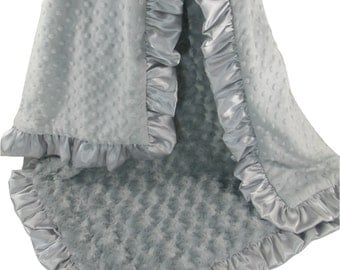 Silver Gray Minky Dot and Rose Swirl Baby Blanket, 3 sizesCan Be Personalized