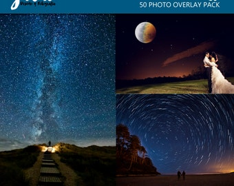 NIGHT SKY Photoshop Overlays, backdrop background, night sky overlay, moon and stars photo layer, milky way wedding night, falling stars