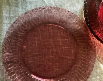 Mid Century Dinner Plates - 1950s pink plates - set of 4 - made in Mexico - pressed glass plates - mid century decor - boho tableware