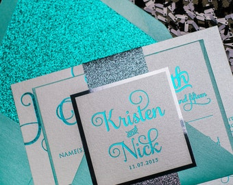 Foil  - Teal and Grey Glitter Wedding Invitation - SAMPLE (Adele)
