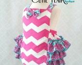 Baby Girl Romper - Hot Pink Chevron romper - Baby Retro Romper - Cake Smash Outfit - Ruffled Romper - Baby Jumpsuit  - 1st Birthday Romper