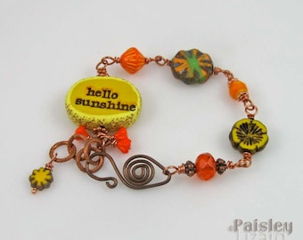 Hello Sunshine bracelet, rustic copper beaded chain with colorful Czech glass, narrative jewelry