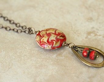 Long Red Necklace, Long Chain, Red Pendant, Red and Brown Necklace, Layering Necklace, Bohemian Style, Boho Style