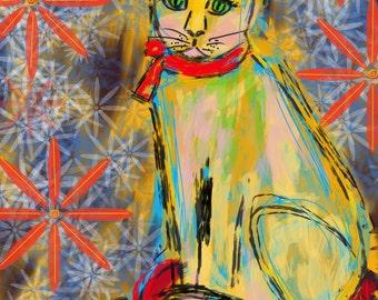 8 x 10 PRINT of Yellow Cat by Joan Princing Art