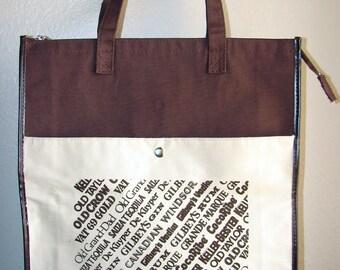 EXTREME DESTASH - 1 Dollar - Vintage Dark Brown Canvas XXL Liquor Brand Shoulder Bag/ Tote Bag
